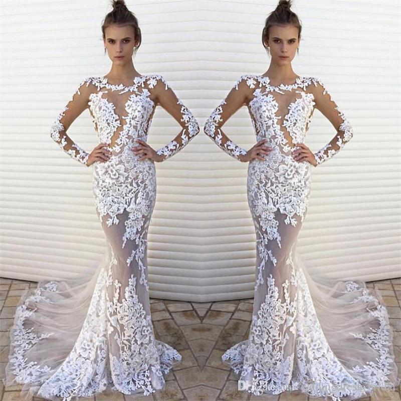 Sexy White Lace See Through Beach Wedding Dresses 2017 New Fashion Illusion Bodice Long Sleeve
