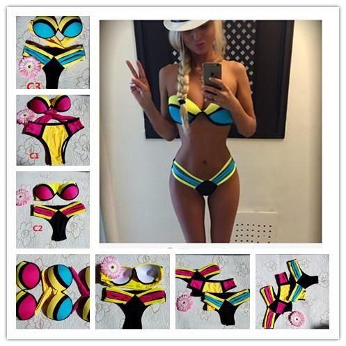 82a05d3e8b262 2019 2015 Sexy Triangle Bikini Women Bandage Triangle Neoprene Beach Bikini  Push Up Padded Bar Swimsuit Push Up Bikini Swimwear B70 From E popstore