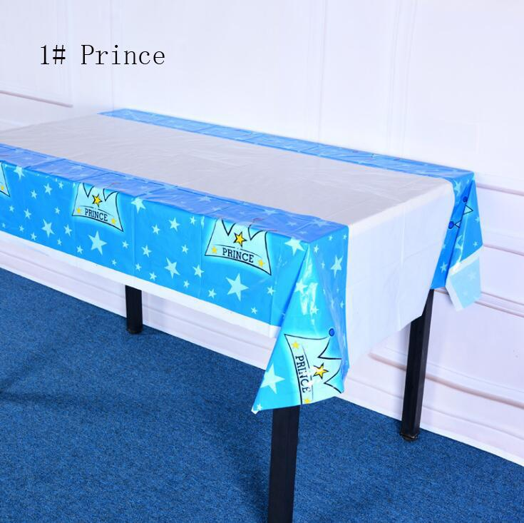 108*180cm or 43*70inch plastic tablecloth Prince princess for Birthday Wedding Party Decoration baby shower gift craft DIY favor