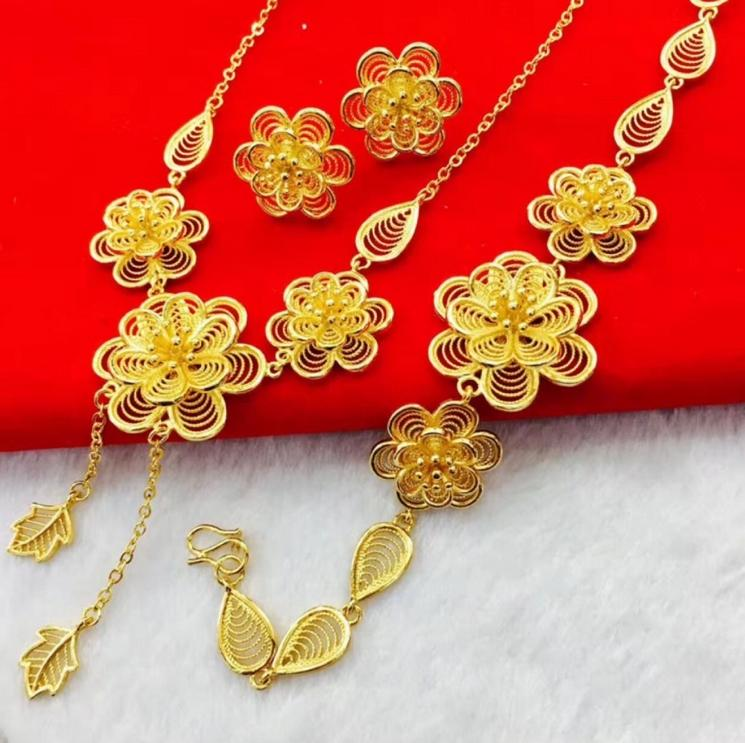 2018 Wedding Dinner Big Flower Gold Necklace Bracelet Earrings ...