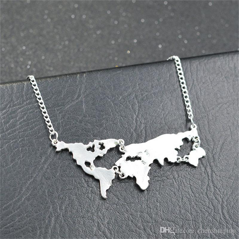 wholesale New Fashion Globe World Map Pendant Necklace Personality Teacher Student Gifts Earth Jewelry