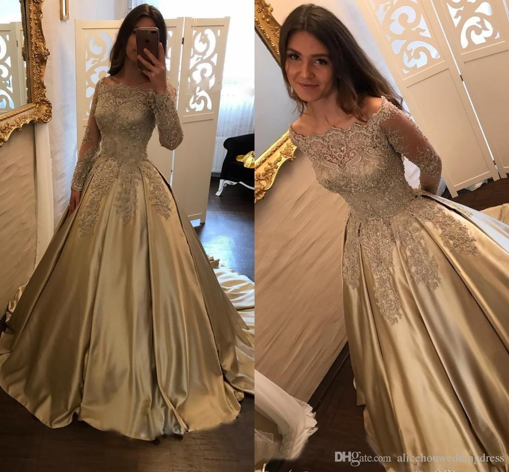 Evening Gowns For Wedding Reception: New Gold Lace Sheer Long Sleeves Evening Dresses Off