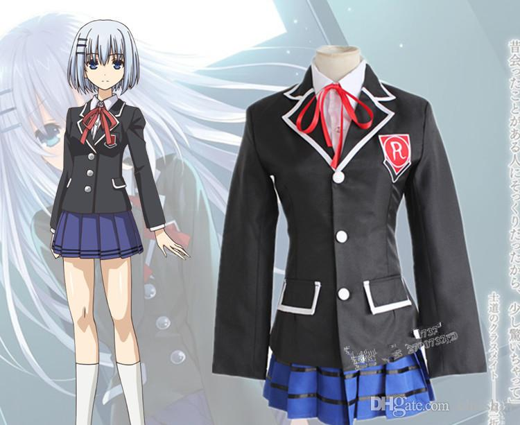 Cheap Japanese Anime Date A Live Cosplay Tokisaki Kurumi Costume Tobiichi  Origami Costume Japanese Student Uniform Shirt+Coat+Skirt Set