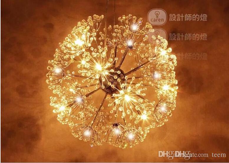 droplight 47CM Européen De Luxe Créatif Pissenlit LED Lustres En Cristal Moderne Minimaliste K9 Pendentif En Cristal Lumière Salon Lumières