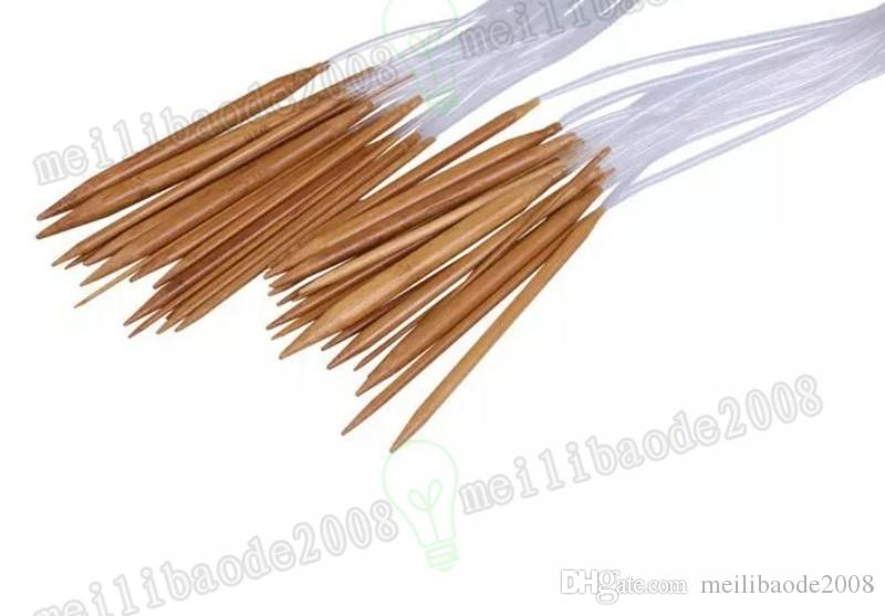 New 18 Sizes 2.0mm-10.0mm 80cm Sweater Bamboo Smooth Finish Craft Circular Knitting Needles Set MYY