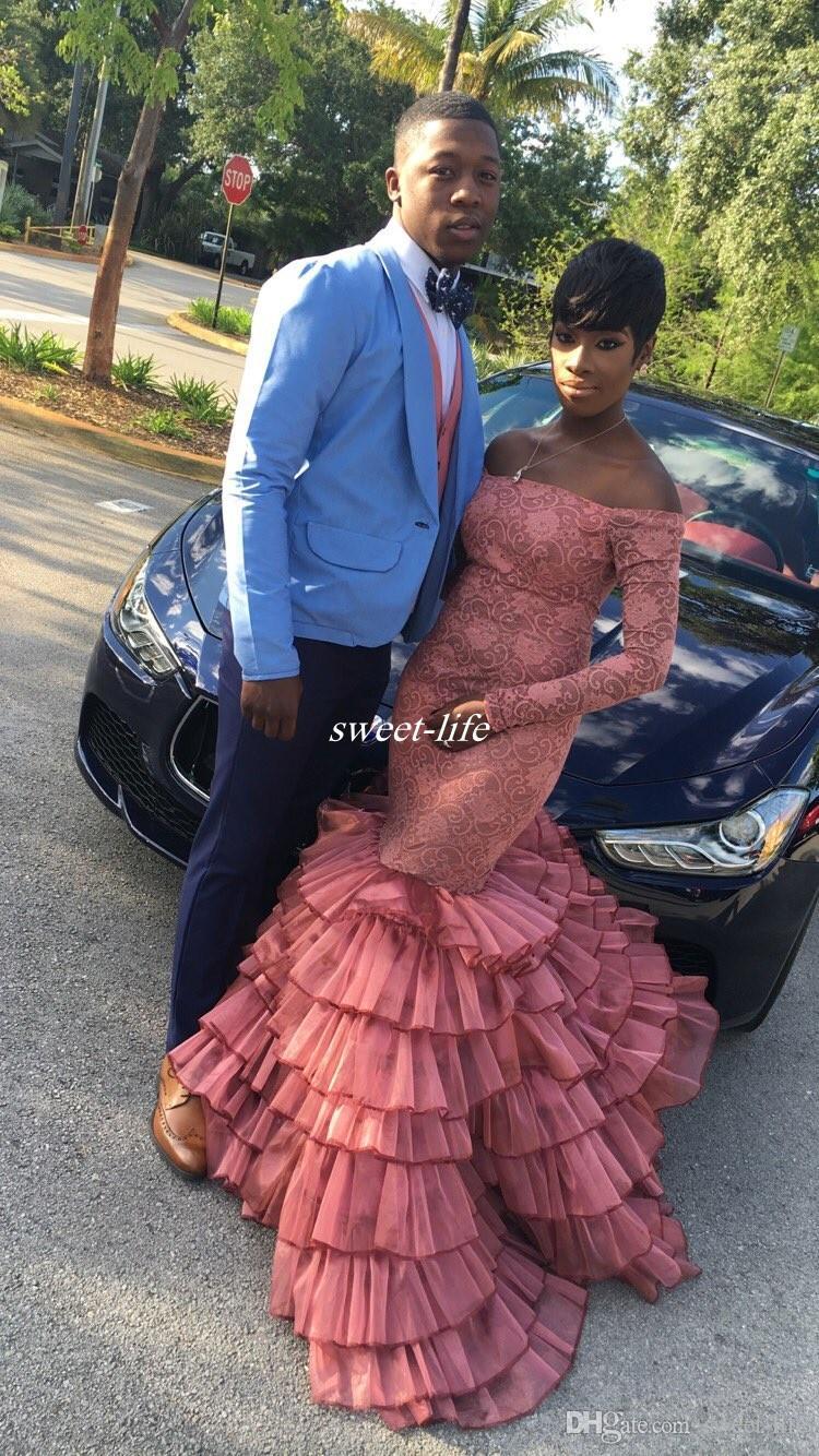 2K19 Long Sleeves Prom Kleider Lace Off the Shoulder Rüschen Organza Mermaid Abendkleider 2019 Sexy Pageant Party Kleider Plus Size Arabisch