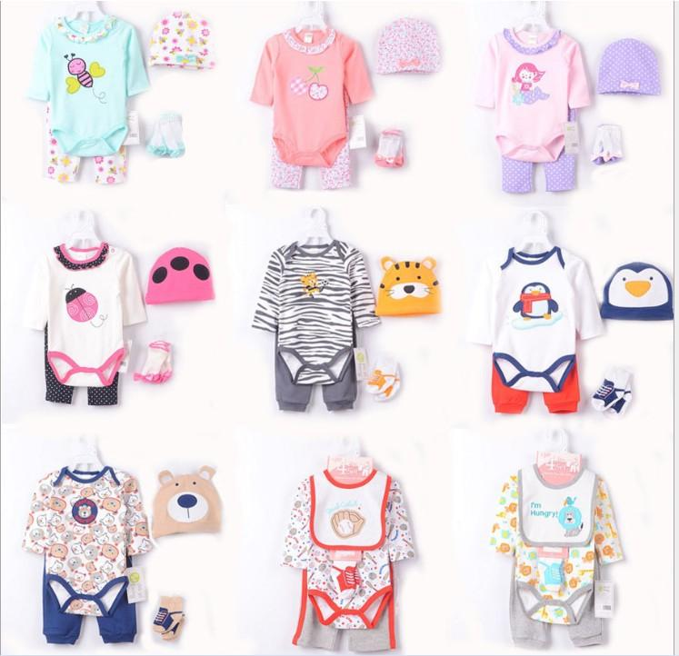 cbc1f4bbe868a0 2019 High Quality 100% Cotton Infant Baby Clothing Sets Cartoon Animals  Fashion Romper+Pants+Hats+Socks Toddler Baby Rompers Set Jumpsuits From  Stephen lee
