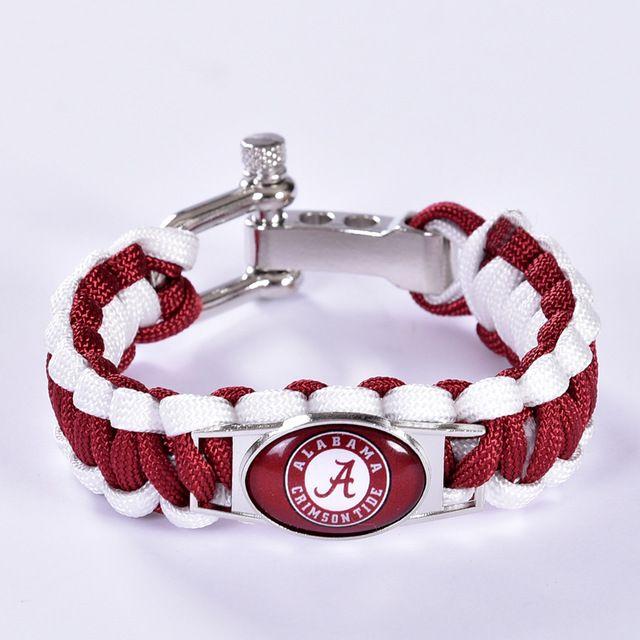 Alabama Charm Bracelet: Alabama Crimson Tide Custom Paracord Bracelet Ncaa College
