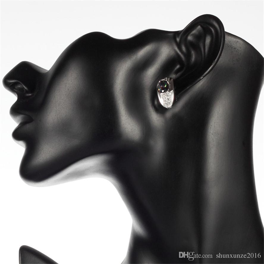 925er Sterlingsilber Promotion-Herzset Ring / Ohrring / Anhänger Edle großzügiges S-ssz # 6 7 8 9 Regenbogen-Feuer-Mystiker-Zirkonia-Punk