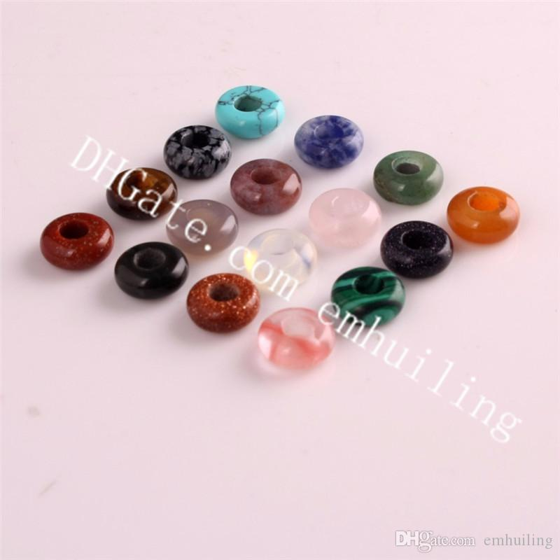 10*4mm Mixed Random Color Natural Mineral Rock Quartz Crystal Beads Charm Drilled Hole Stone Beads Loose Spacer Bead for DIY Jewelry Making