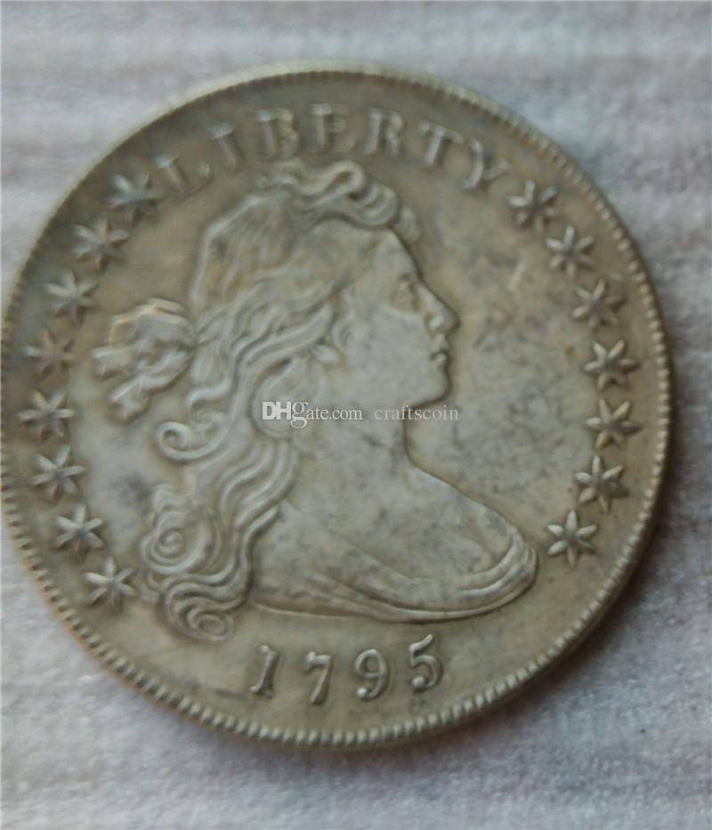 الولايات المتحدة رايات تمثال نصفي الدولار 1795 عملات نسخ هجر الفاظ قديم تبحث الولايات المتحدة عملات النحاس الحرف \ بيع كامل شحن مجاني