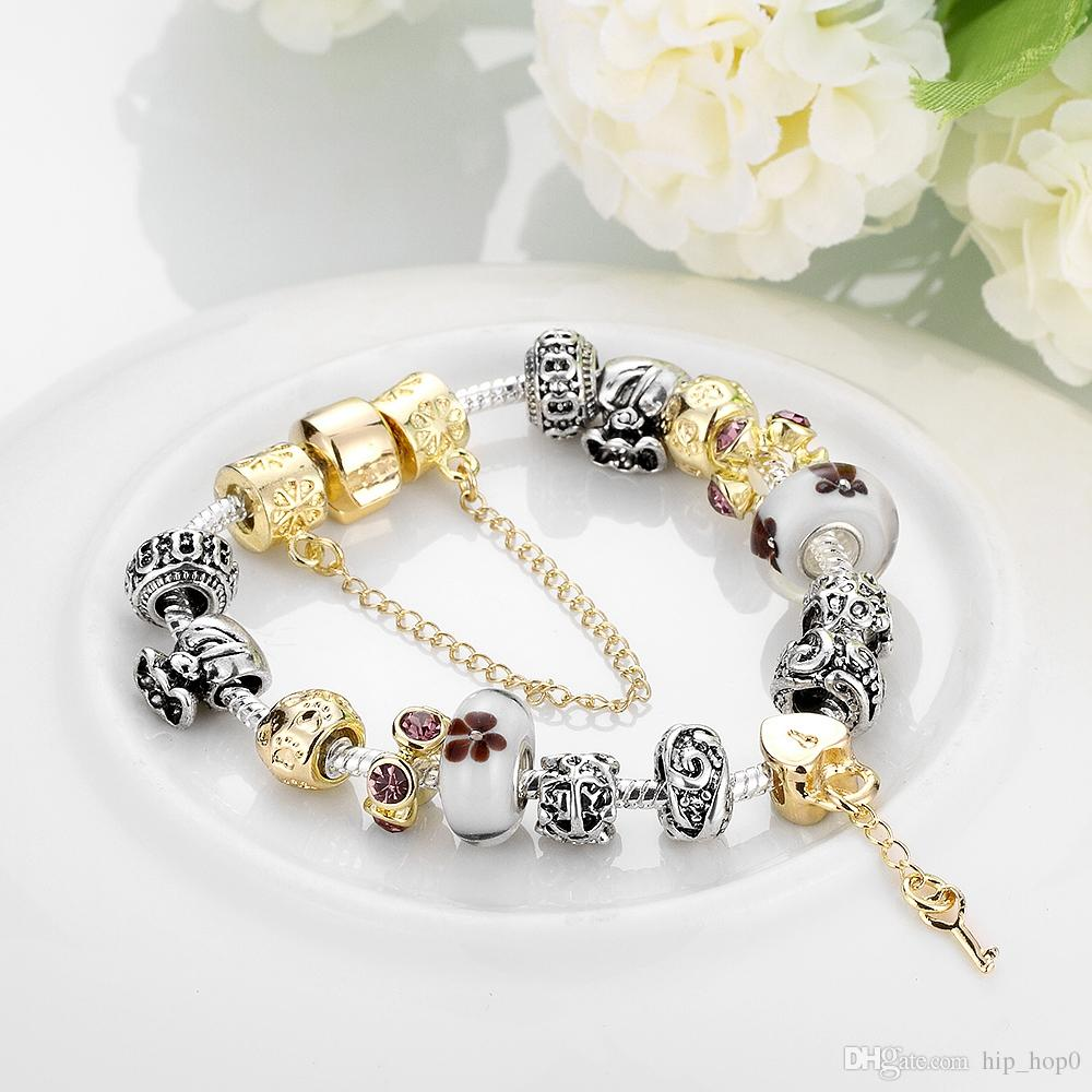 925 Sterling Silver Bracelet Snake Chain Screw European Beads Charms Retro Punk Lock and Key Pendants Gold Plated Murano Beads DIY Jewelry