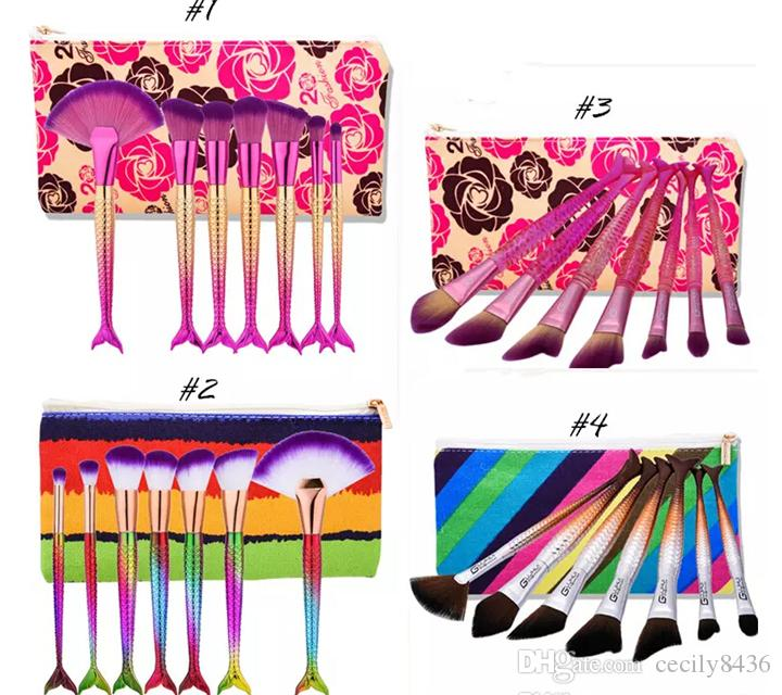 New Mermaid Brushes for Foundation Powder Contour Fish Scales Multipurpose Beauty Rainbow Cosmetic Makeup Brush Sets Kits with Bag