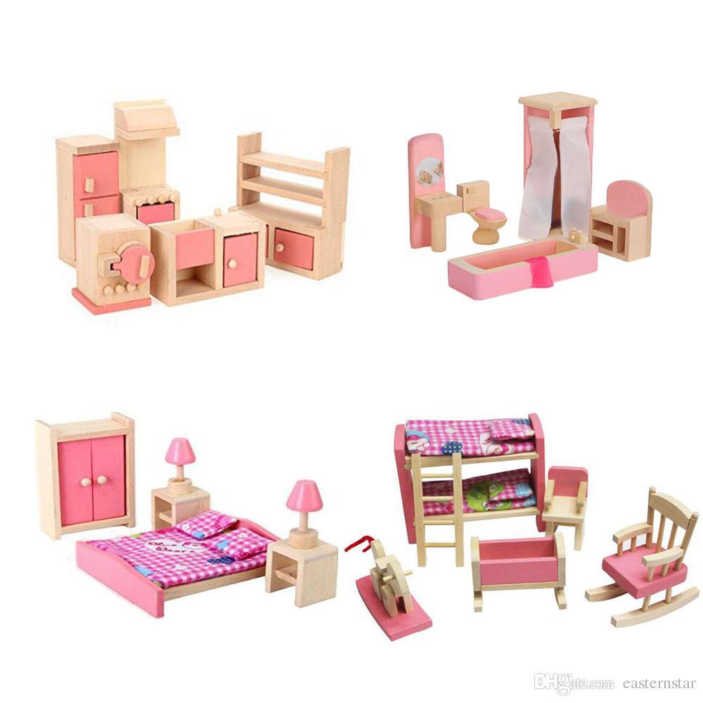 2019 Wooden Dollhouse Furniture Set Pink Including Bathroom Bedroom