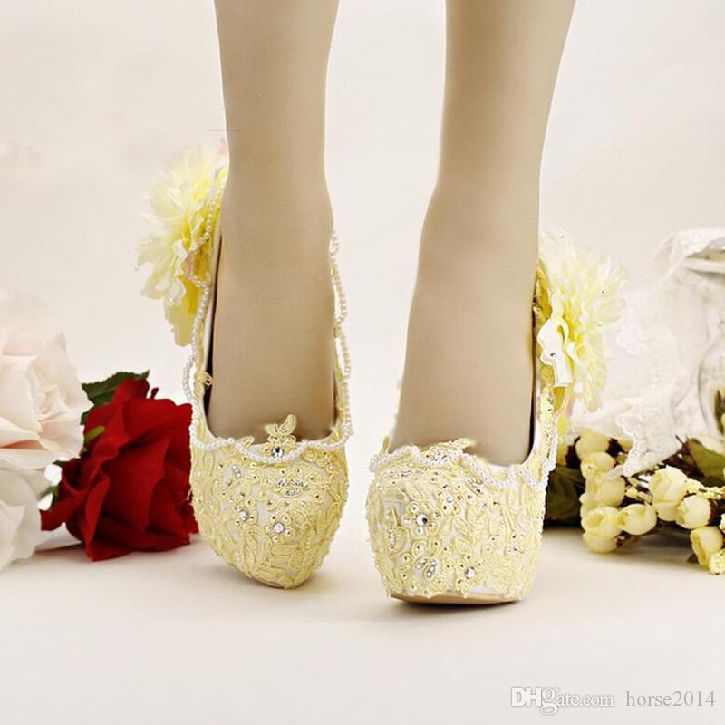 Pure Yellow Braut Schuhe High Heels Plattform Kleid Schuhe Spitze Blume Strass Hochzeit Schuhe Brautpumpen Stiletto High Heel