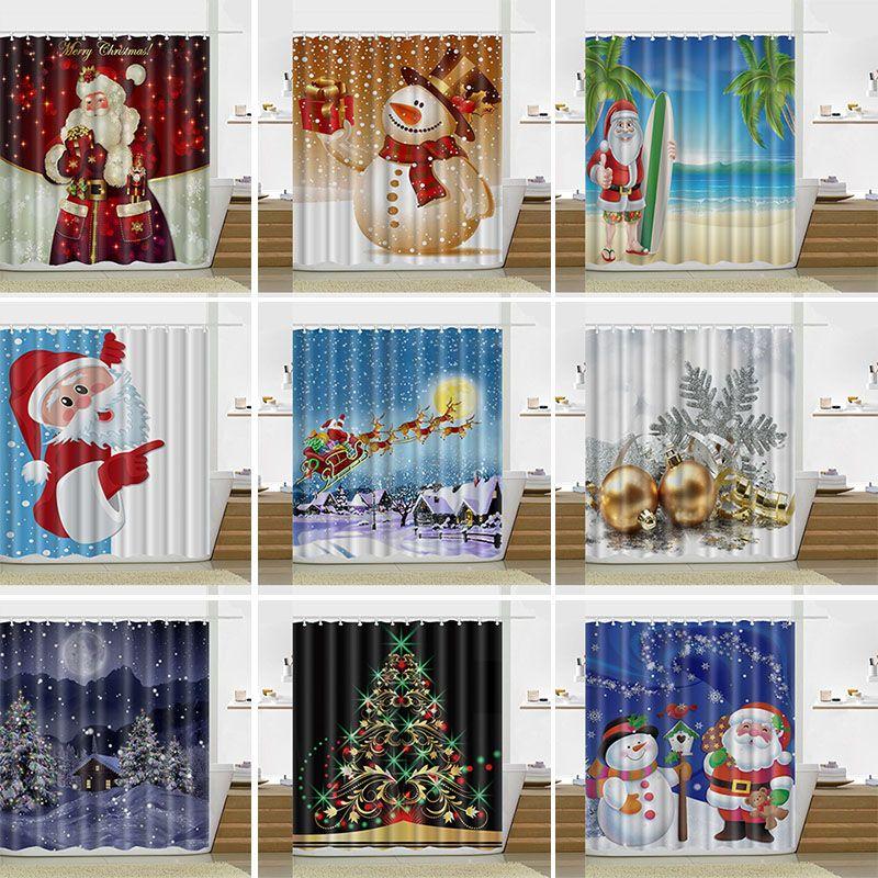 2018 13 Design Christmas Shower Curtain Santa Claus Snowman ...
