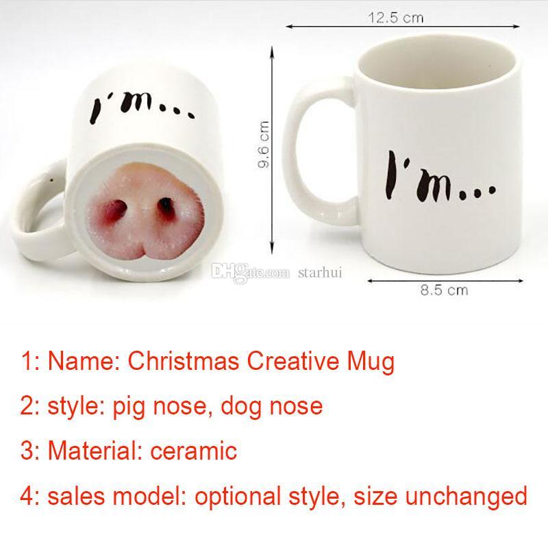 Halloween Funny Doggy Mug Ceramica Caffè Tazza da tè Donkey Dog Naso DesignedCoffee Tazza da tè Donkey Dog Nose Progettato WX-C42