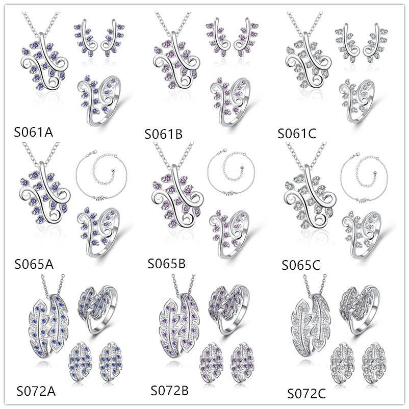 Pluma digital 925 Collar de plata Anillo de Anillo de Anillo Pendiente Emss32, Joyas de plata esterlina de piedras preciosas de las mujeres conjuntos un montón de estilo mixto