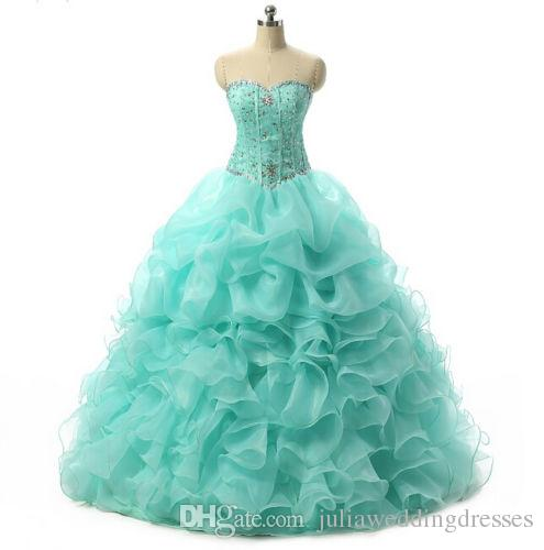 New Cheap Mint Blue Quinceanera Dresses 2016 Ball Gown With Beaded Crystals Prom Sweet 16 Dress Stock Size 2-4- 6-8-10-12-14-16QC185