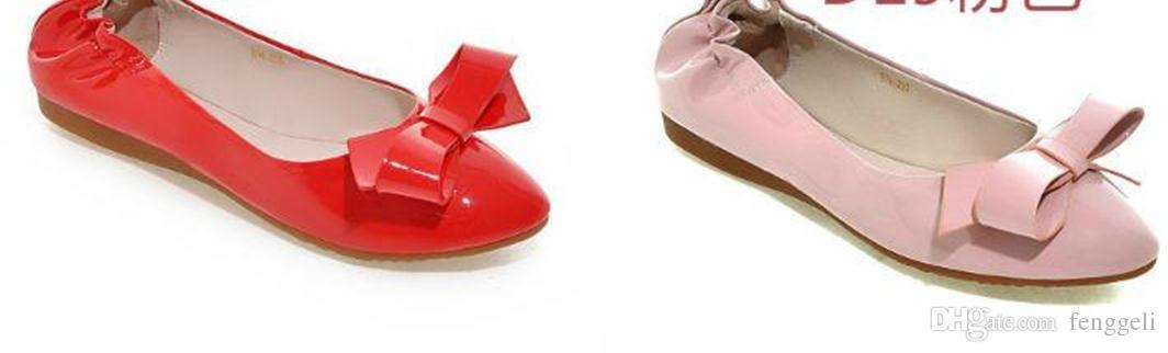 2016 새로운 여성 아사 쿠치 신발 지적 활 플랫 바닥 신발