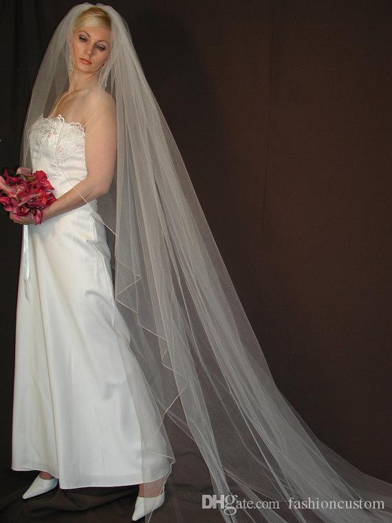 Eine Schicht Hochzeit Schleier Weiß Champagner Elfenbein Brautschleier Kathedrale Länge Pencill Rand mit Kamm Tüll 197a