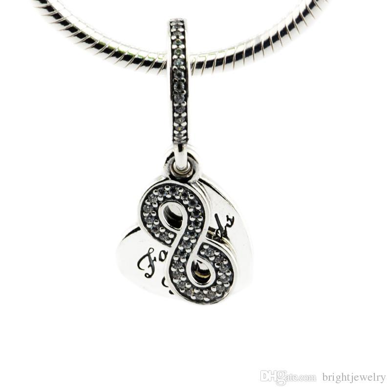 47013451190c Compatible con Pandora Charms Bracelet 100% 925 cuentas de plata esterlina  Forever Friends, Clear CZ colgante colgante dijes de bricolaje para mujeres  ...