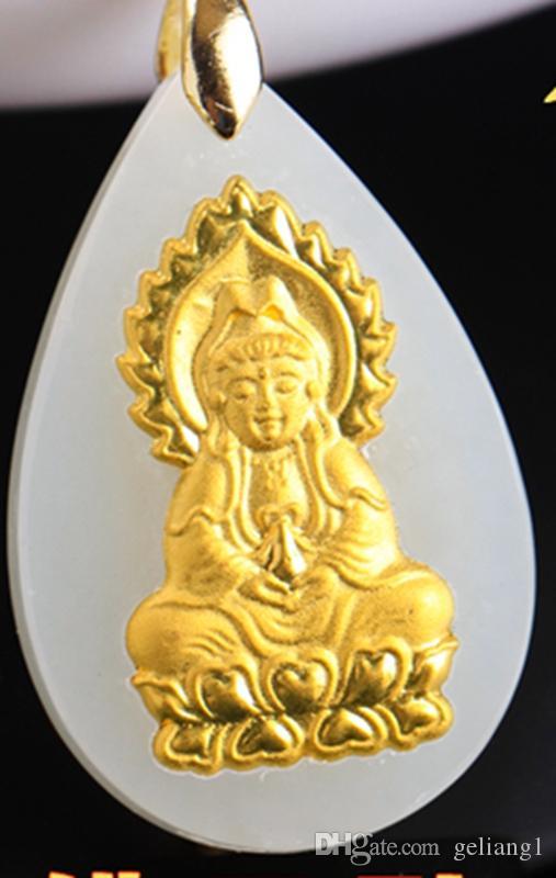 Altın kakma yeşim guanyin bodhisattva damlayan. Tılsım kolye kolye