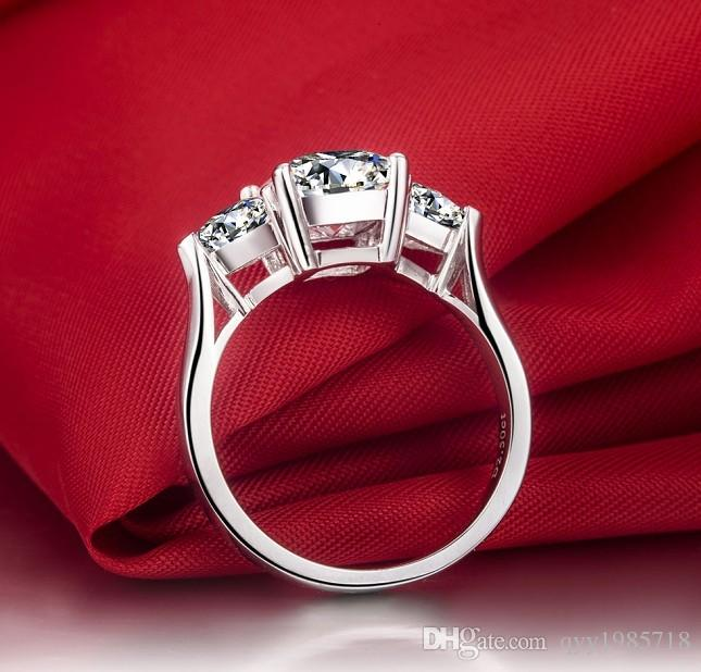 Wholesale 3CT Quality Synthetic Diamond Ring 925 Sterling Silver Jewelry 18K White Gold Plated 3 Stones Mounting Wedding Ring