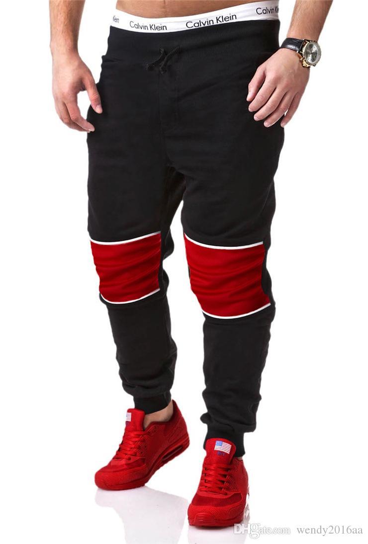 Perakende 1 adet / grup Mens Moda spor uzun Pantolon 2016 Marka Pantolon Erkekler Rahat Patchwork Pantolon Sweatpants Hip-Hop trousersi M-2XL