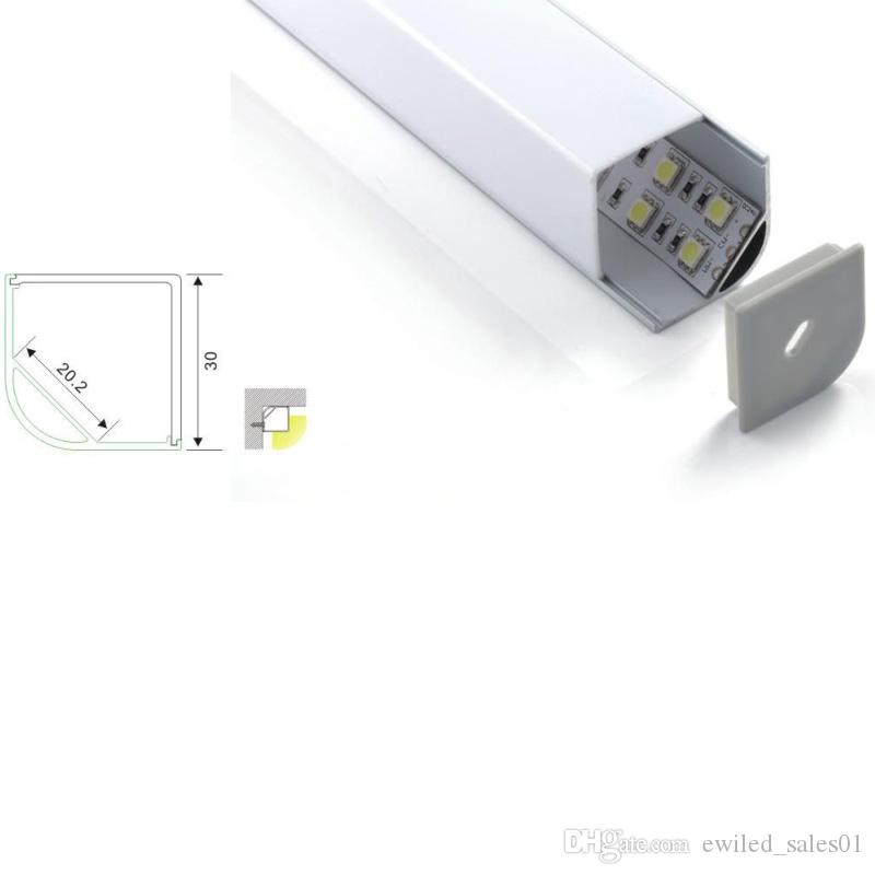 100 X 1M sets/lot 45 degree corner led strip aluminum channel and right angle alu profile for kitchen or wardrobe led lamps