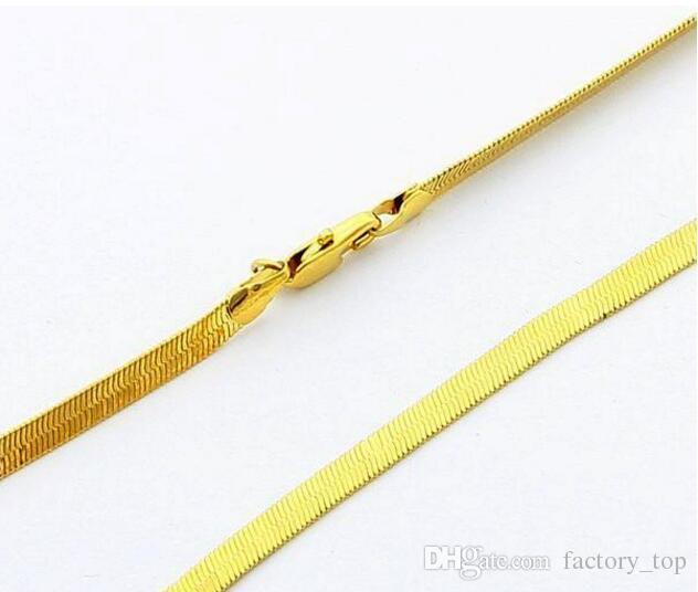 24KRGP Zinciri -PBDN80 Uzunluk: 50CM Genişlik: 4MM oblate yılan zinciri altın 24k Satılık ürünler 24K Altın Erkek zincir kaplama kolye