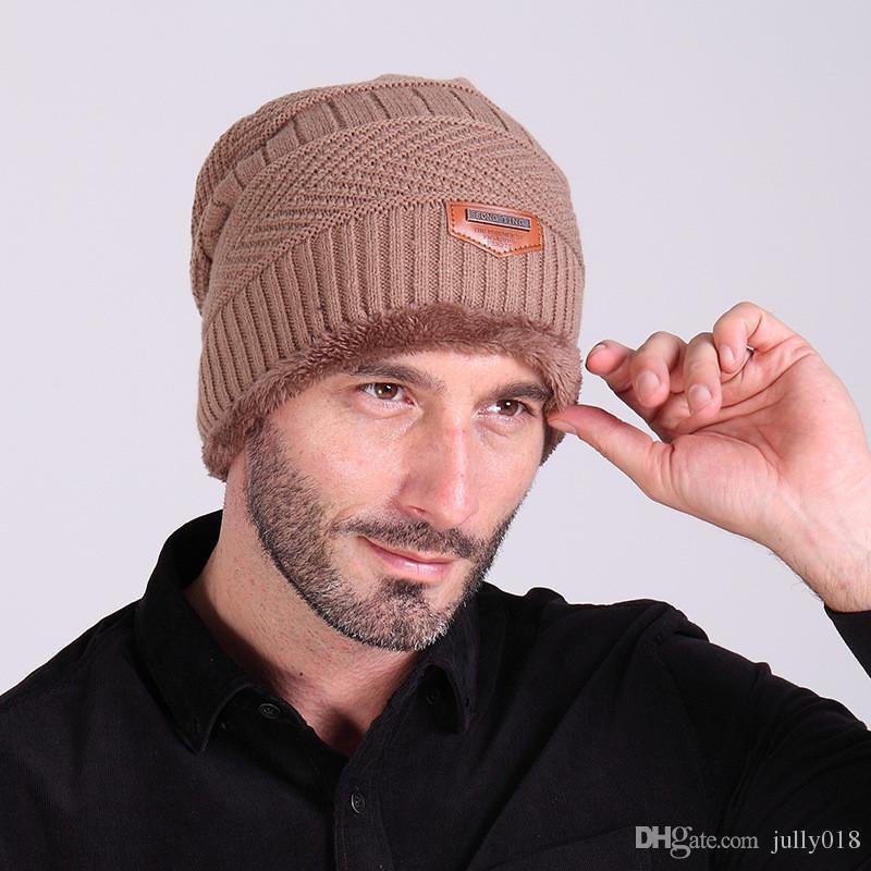 2016 Marque Bonnets Tricot Hommes Chapeaux D'hiver Chapeaux Skullies Bonnet Chapeaux D'hiver Pour Hommes Femmes Beanie Fourrure Chaud Baggy Laine Bonnet