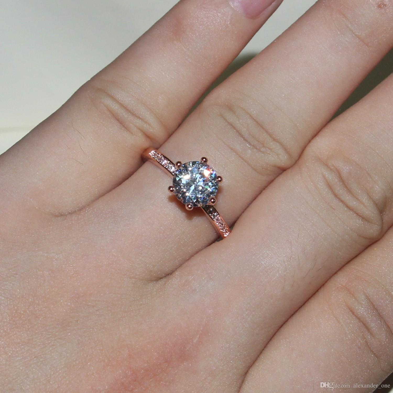 2016 NOVO design de Moda Jóias de Luxo Mulheres anel de Noivado 925 sterling Silver Rose Gold 5A Zircão Anéis de casamento coroa de pedras preciosas