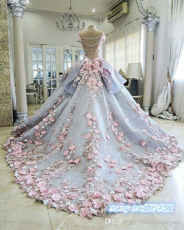 2016 Real Image Colorful lace Ball Gown Plus Size Pink Flowers Princess Chapel Grey Wedding Dresses Bridal Gowns