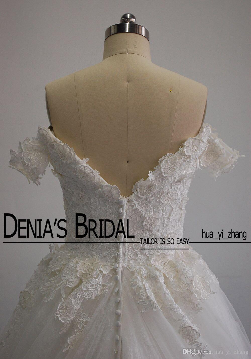 Imágenes reales de 2016 nueva llegada una línea vestidos de boda del hombro apliques de encaje de tul vestidos de novia
