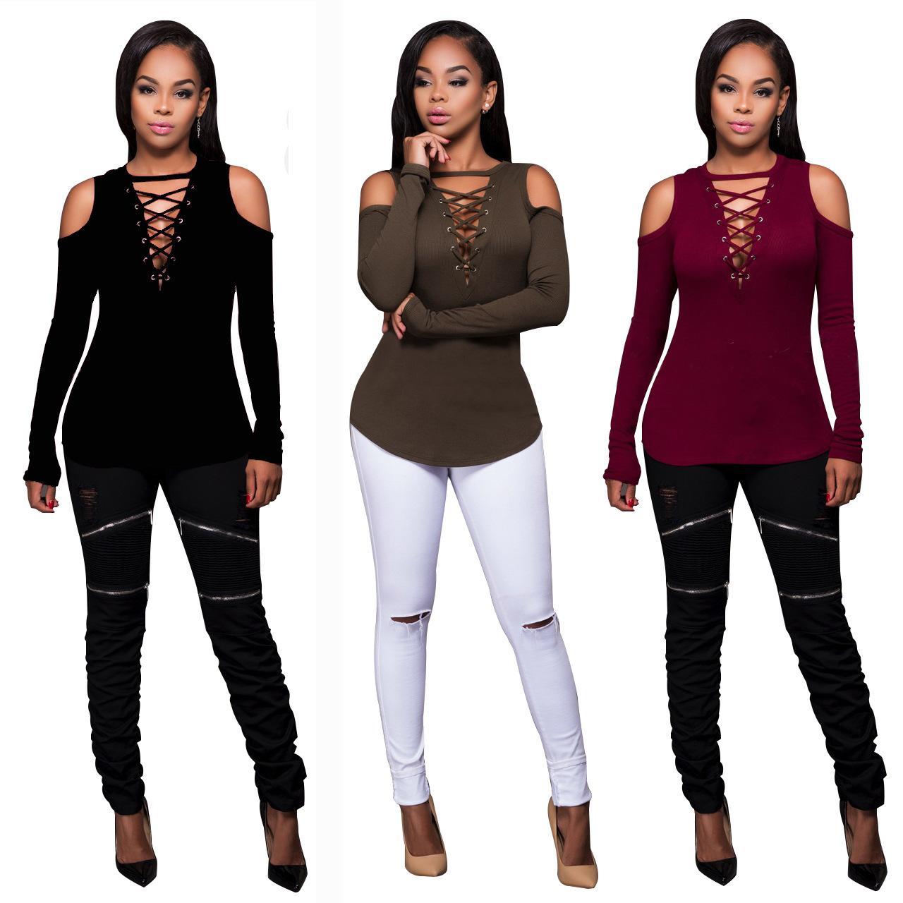 e57bcf9fa65 Wholesale 2017 New Trendy Womens Tops Long Sleeve Deep V Neck Cross Lace Up Slim  Sexy Women T Shirt Hollow Out Tee Top Poleras De Mujer Cool Tshirts Retro T  ...