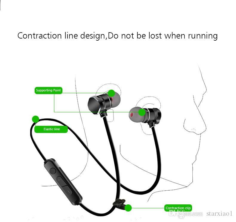 X3 Manyetik Bluetooth Kulaklık Kulaklık Su Geçirmez Sweatproof Spor Stereo Kablosuz Kulaklık Iphone X 6 7 8 Artı S8 Evrensel cep Telefonu