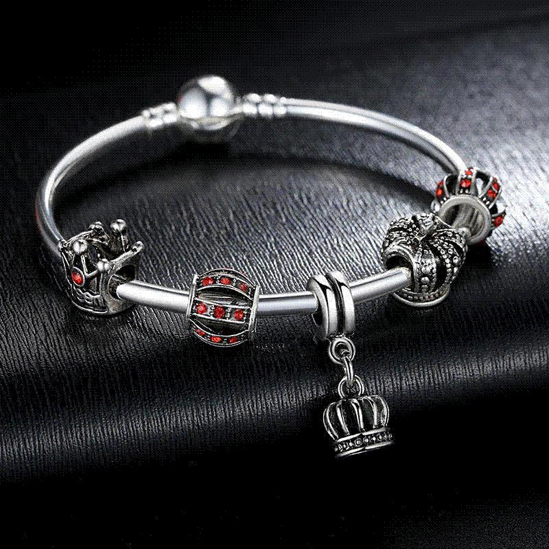 2016 Hot Sale Luxury 925 Silver Crown Charm Bangle DIY Jewelry for Women Fit Original Bracelets Pulseira Gift