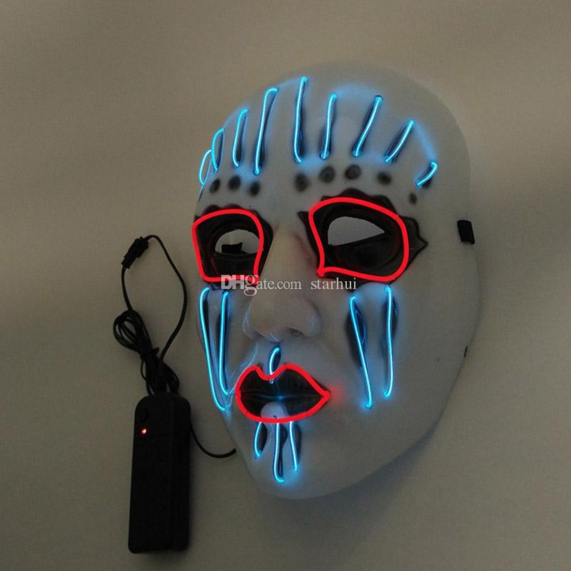 LED Halloween Masks EL Wire Glowing Mask Masquerade Birthday party Carnival Cosplay Full Face Masks Halloween Costumes Party Gift WX9-59