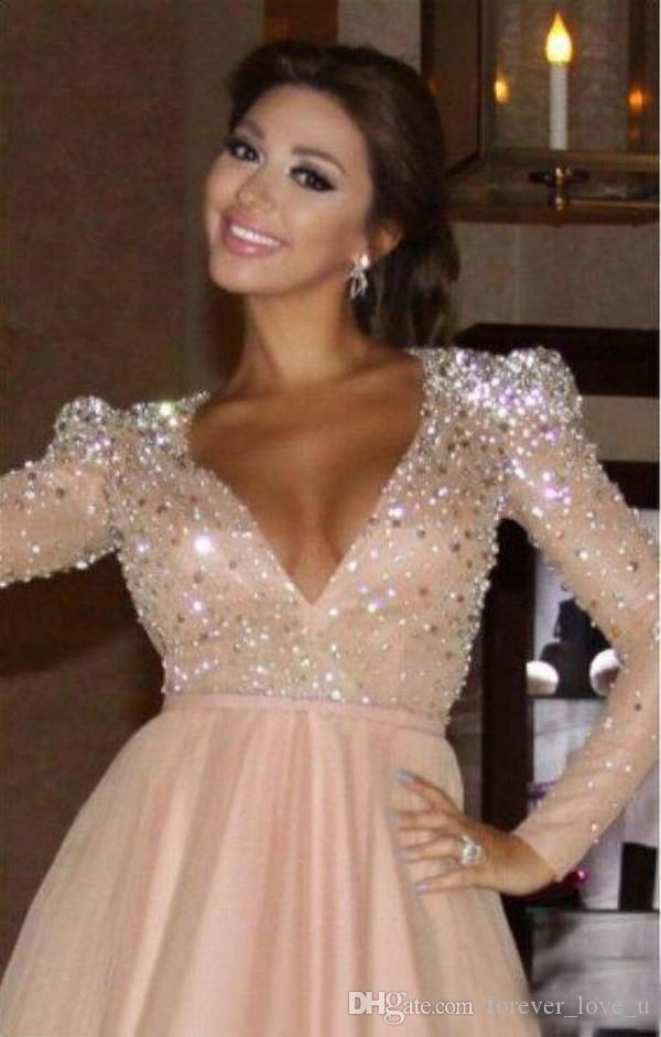 Myriam Fares Luxury Blush Prom Dress Sexy Deep V Neck Long Sleeves Shinny Crystals Beads Long Formal Evening Party Gowns with Sash