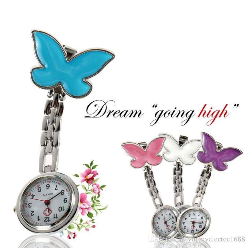 Pocket Medical Nurse Fob Watch Women Dress Watches 4 Colors Clip-on Pendant Hanging Quartz Clock Butterfly Shape New