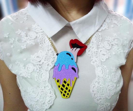 Европейская Мода Личность Преувеличивать Панк Ночной Клуб Ювелирные Изделия Аксессуары Акриловые Мороженое Красные Губы Кулон Ожерелье
