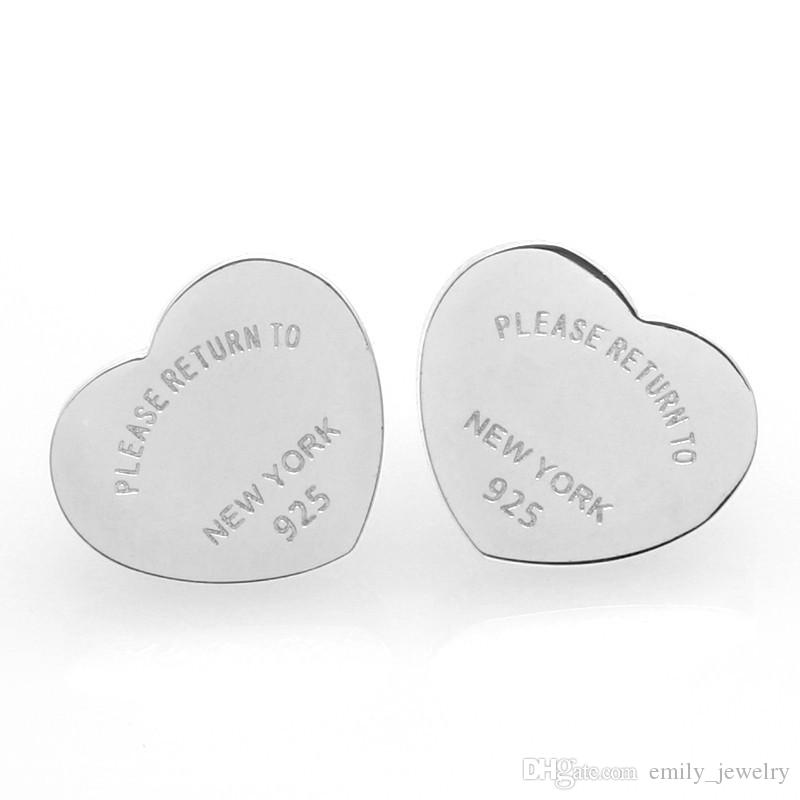 2017 Fashion New arrive brand Titanium steel Heart Love earrings for woman jewelry 18k Gold plated 10MM and 14MM wide girl gift with logo
