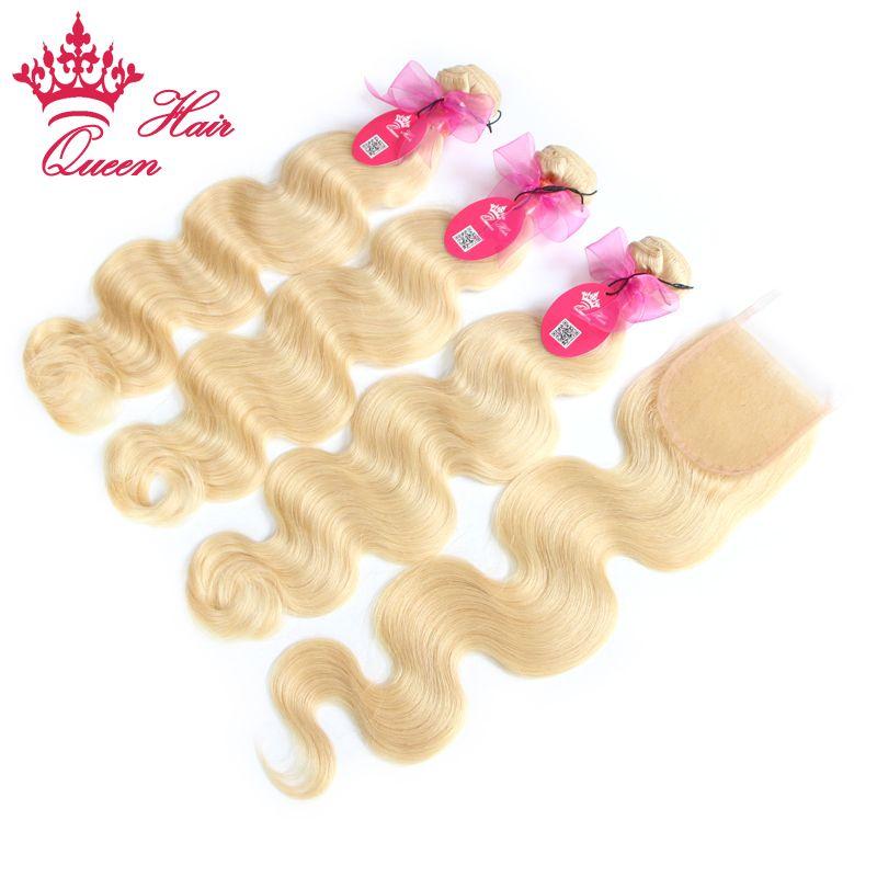 Productos para el cabello de la reina / Brasilian Virgin Hair Body Wave 5A grado Cierre de encaje de pelo humano con paquetes, blanqueado # 613 rubio