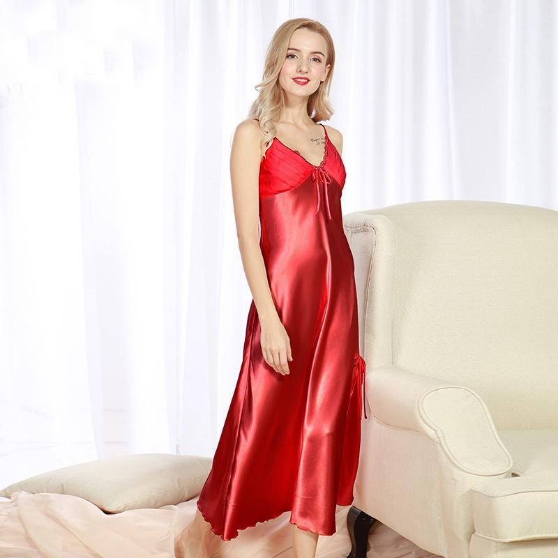Großhandel Lady Sexy Silk Satin Nachtkleid Sleeveless Nachthemden V ...