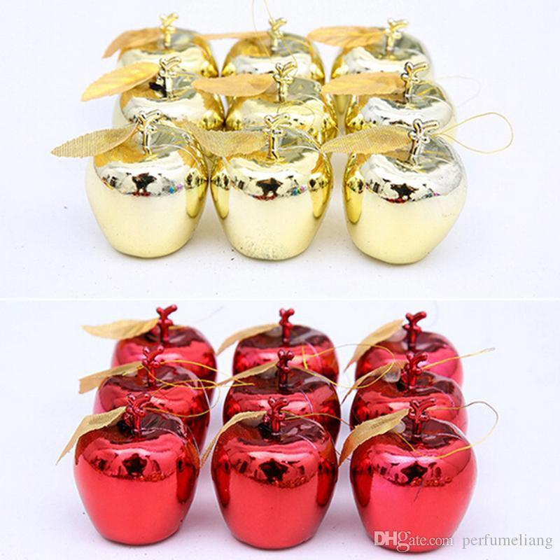 Freies Verschiffen rote goldene Apfel-Weihnachtsbaum-Dekorations-Party-Ereignis-Frucht-hängendes Weihnachtshängendes Verzierung JF-82
