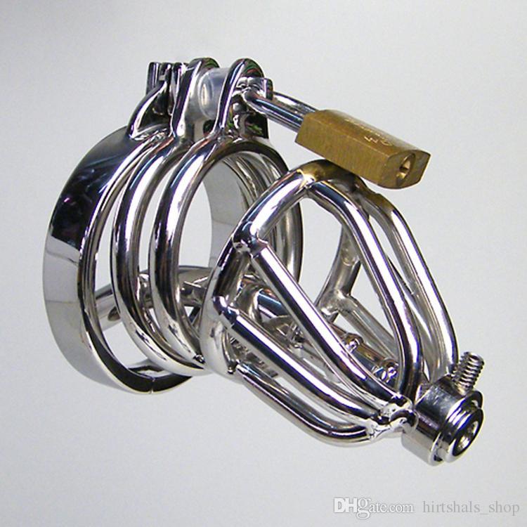 Нержавеющая сталь целомудрие Клетка с полым Съемный Urethral Вставьте Tube Колючая анти-офф Ring Master Bondage передач SM Bondage Hood устройства