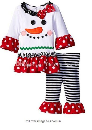 2016 bebê natal roupa meninas veados árvore de natal t-shirt + plissado calças define crianças polka dot tops crianças primavera outono desgaste roupa