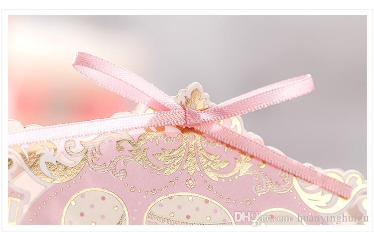 100 Unids romántica estilo Europeo Ahueca hacia fuera rosa caja de La Boda caja de Dulces caja de regalo de la boda bonbonniere cajas favor de la boda TH220