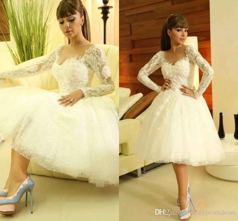 6be756a9df65 Discount Gorgeous Lace Long Sleeve Short Wedding Dresses 2017 Spring Summer  Knee Length Bridal Gowns Ball Gown Custom Made Wedding Dresses Wedding  Dresses ...